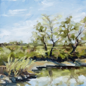 12 by 12 inches, plein air, oil on hardboard